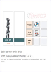 Solid carbide twist drills( 5D )